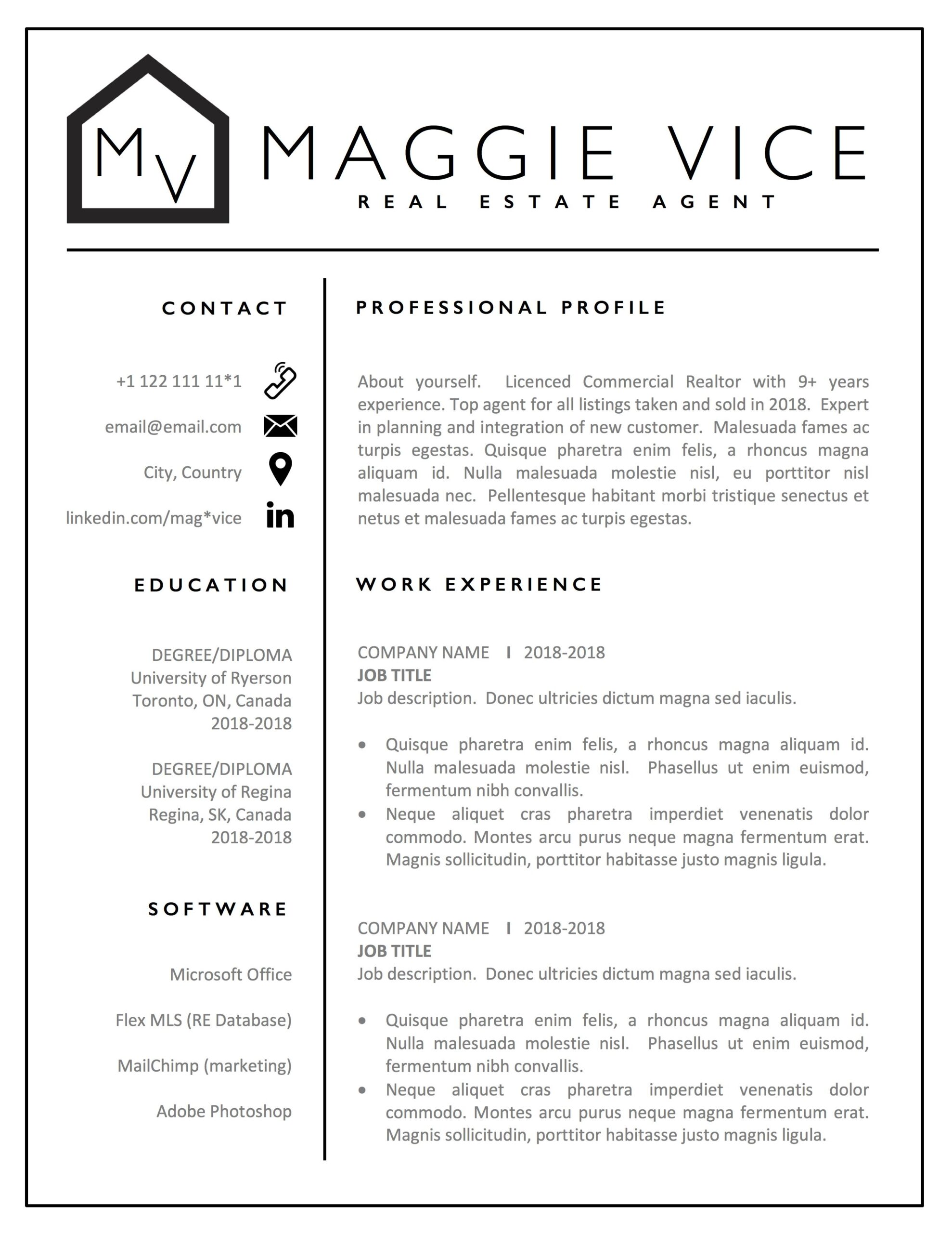 estate agent resume template realtor cv commercial example personal assistant job Resume Real Estate Resume Example