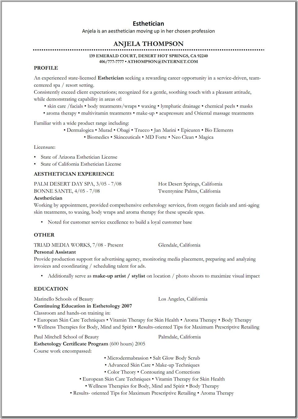 esthetician resume ideas template new graduate objective for with software skills Resume New Graduate Esthetician Resume