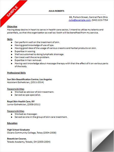 esthetician resume sample cover letter for new graduate academic college visual Resume New Graduate Esthetician Resume