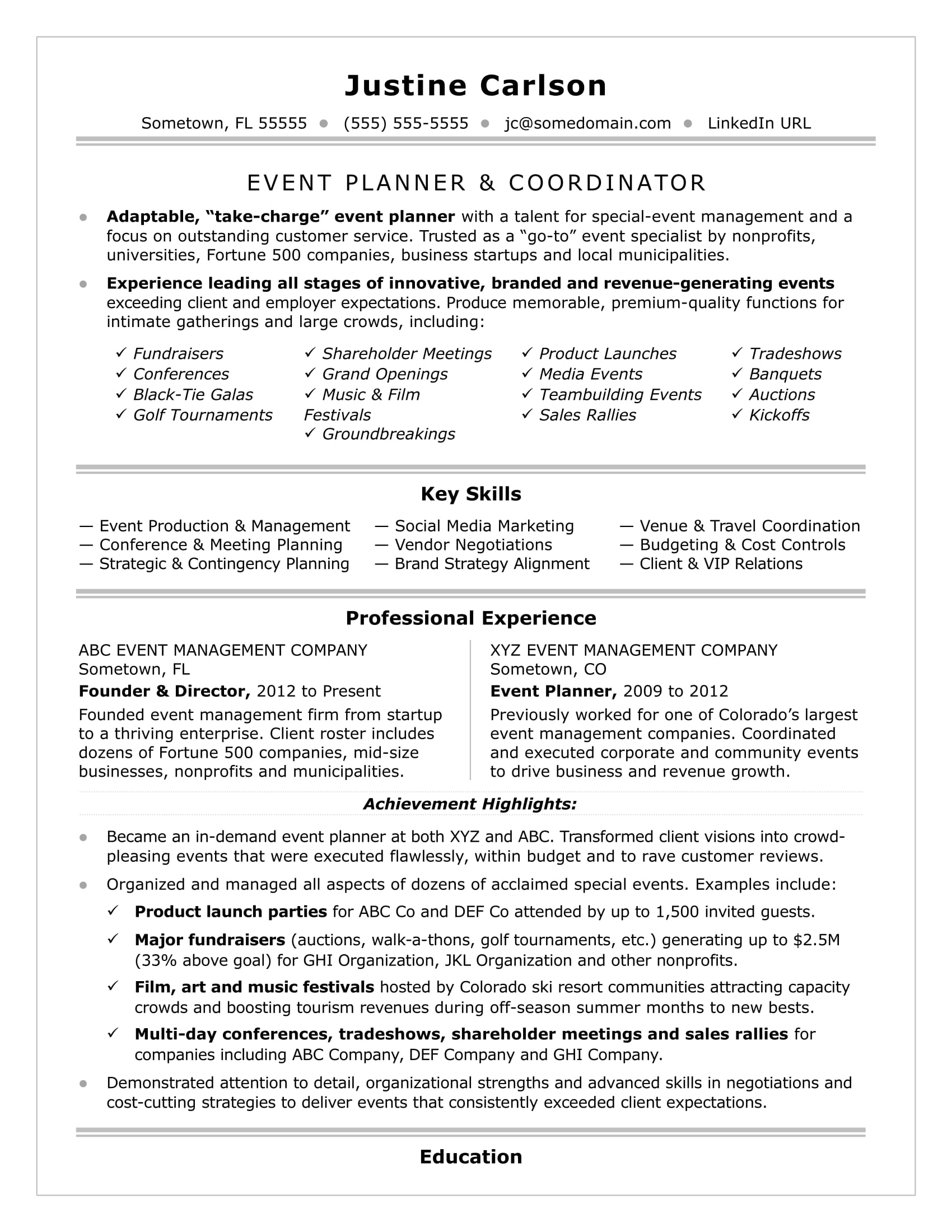 event coordinator resume sample monster recruiting planner fire department samples Resume Recruiting Coordinator Resume