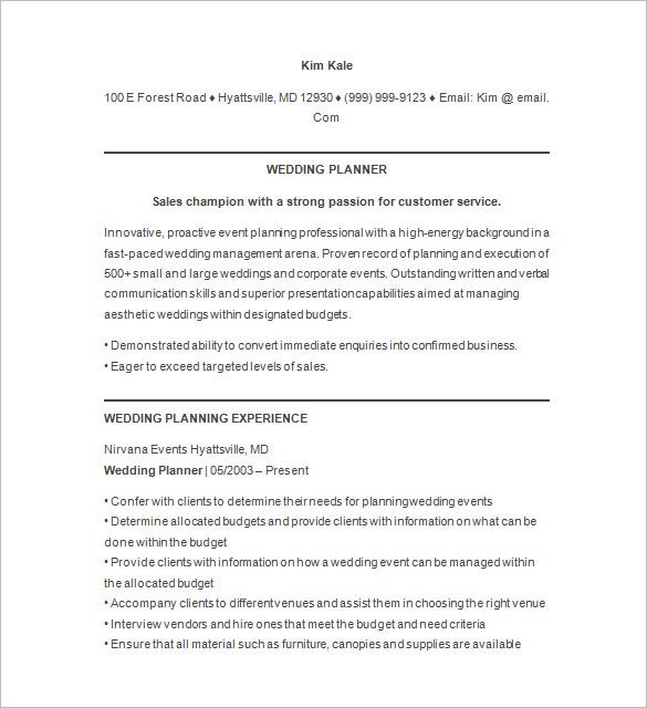 event planner resume templates pdf free premium wedding objective comedy template builder Resume Wedding Planner Resume Objective