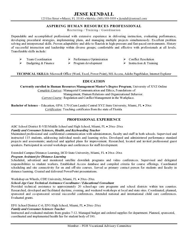 example career change teacher to hr resume free sample objective examples statement goals Resume Career Goals For Teachers Resume