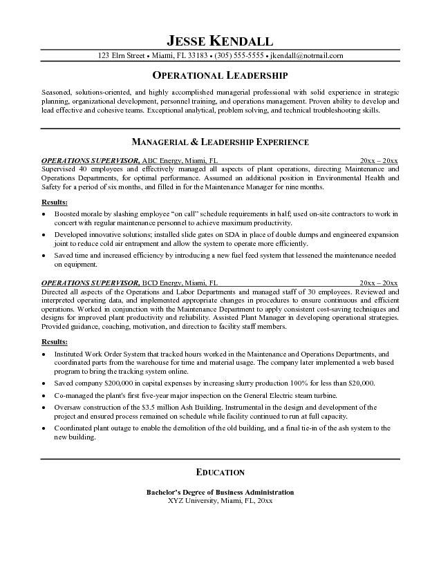 example operations supervisor resume free sample objective writing tips examples samples Resume Supervisor Resume Objective Samples