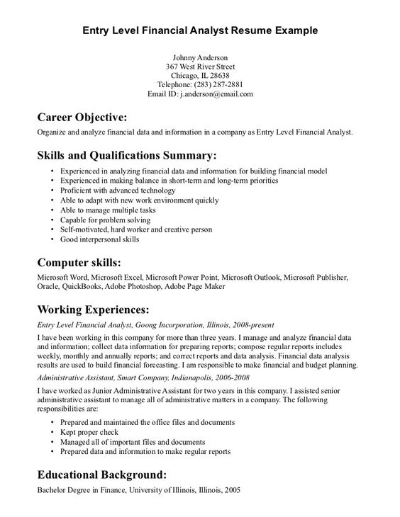 example resume finance analyst sample for entry level job utility worker latex template Resume Sample Resume For Entry Level Finance Job