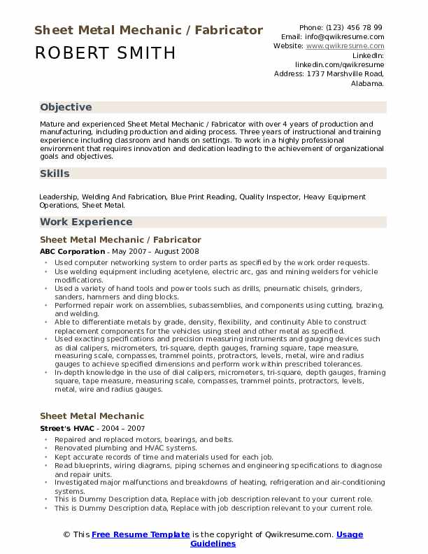 example resume template word sheet metal worker skills and abilities teacher professional Resume Resume Summary Examples For Production Worker