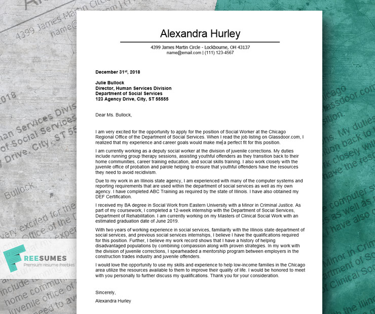 excellent cover letter example for social worker freesumes work resume words red team Resume Social Work Resume Words