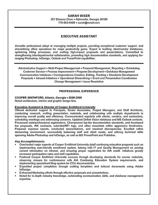 executive assistant resume example sample summary template exad13a statement recent Resume Executive Summary Resume Example Template