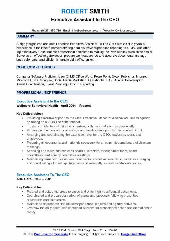 executive assistant to the ceo resume example administrative summary words for zoology Resume Power Words For Resume Summary