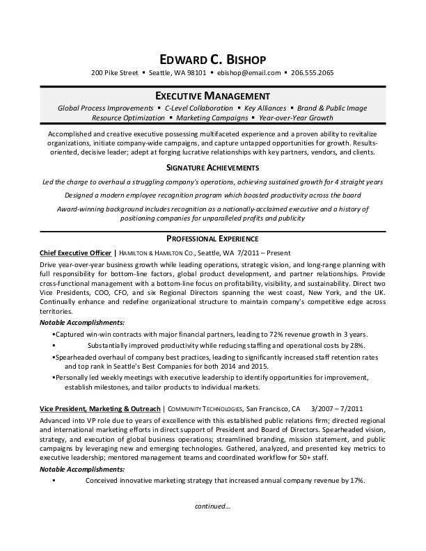 executive manager resume sample monster examples science research file senior program Resume Executive Resume Examples