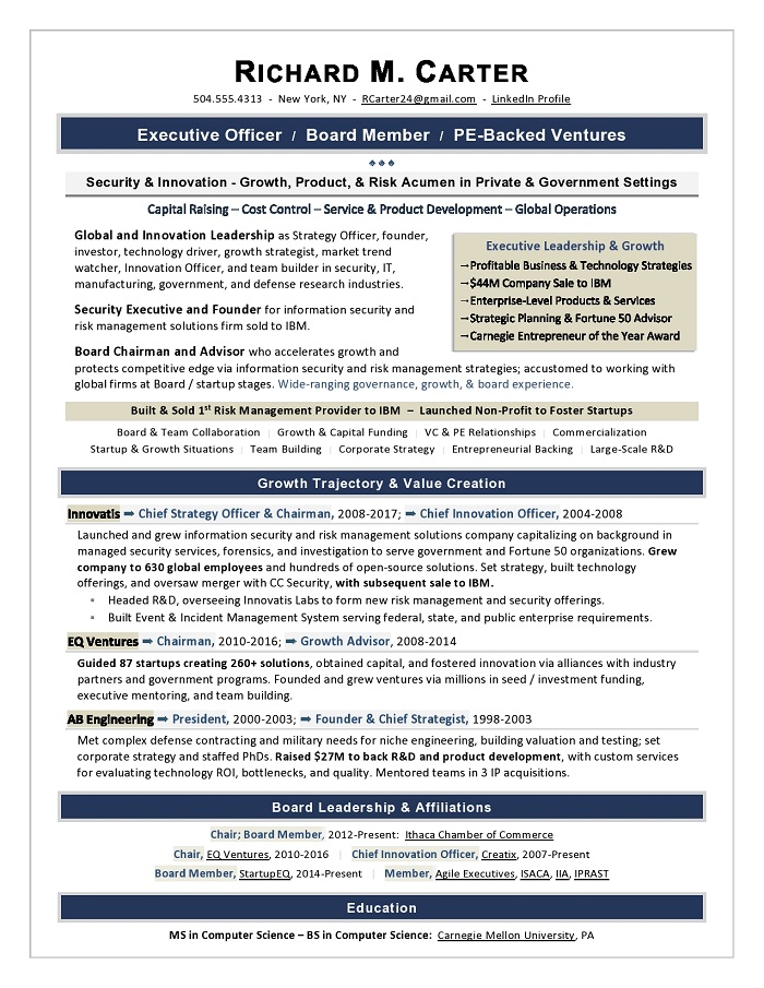 executive resume samples award winning examples sample board personal care assistant Resume Executive Resume Examples
