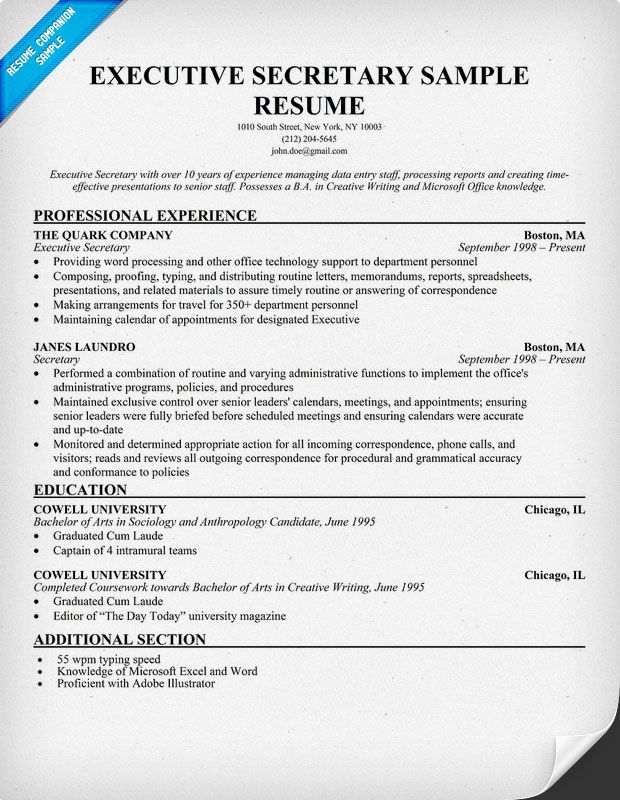 executive secretary resume companion medical assistant examples administrative indeed Resume Secretary Resume Examples