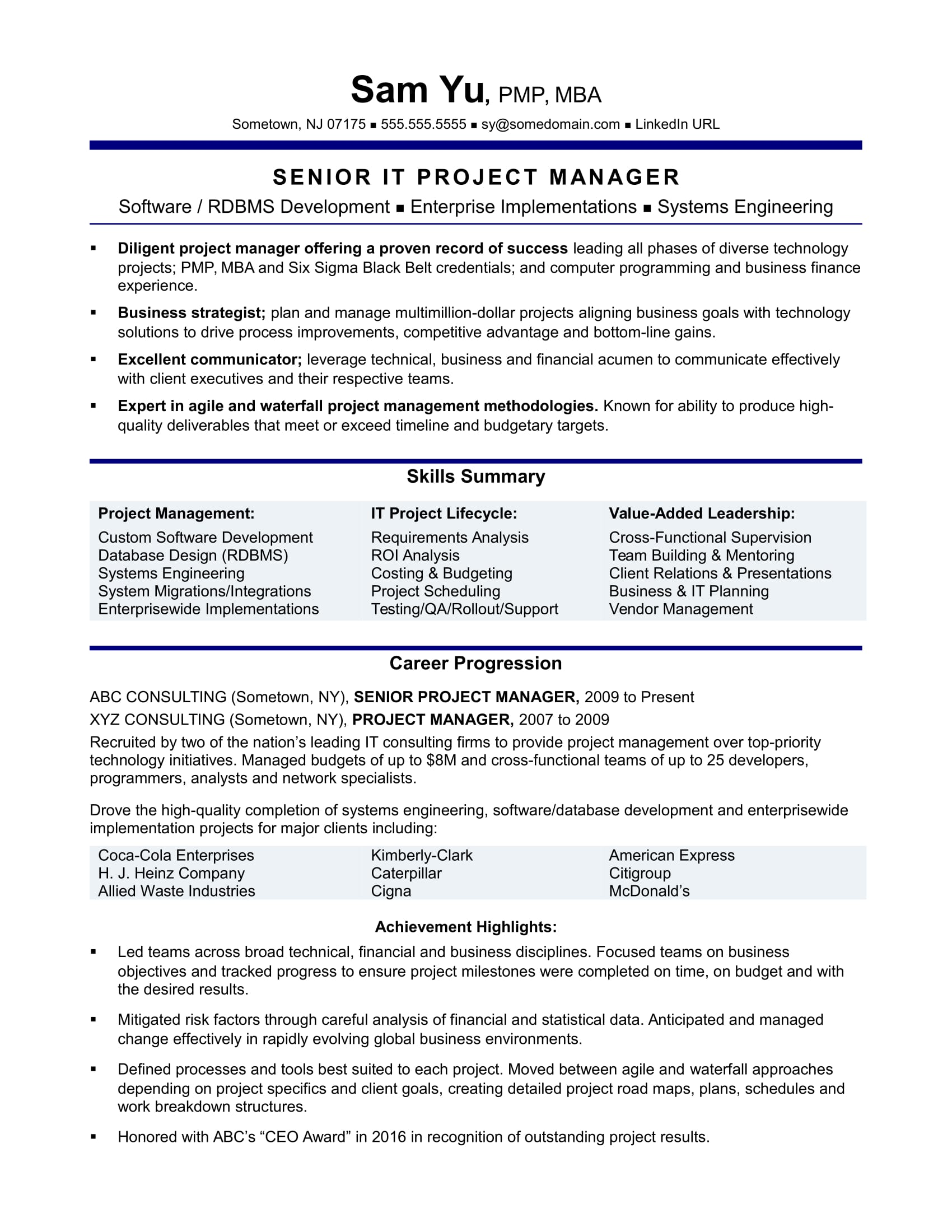 experienced it project manager resume sample monster great examples air force address for Resume Great Project Manager Resume Examples