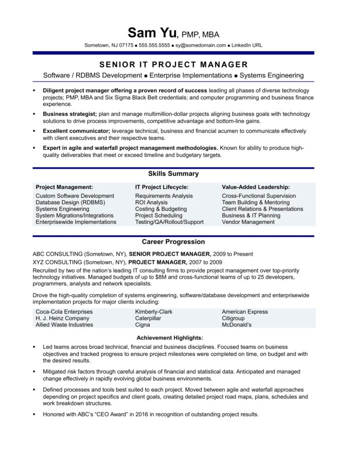 experienced it project manager resume sample monster oriented senior engineer account Resume Project Oriented Resume