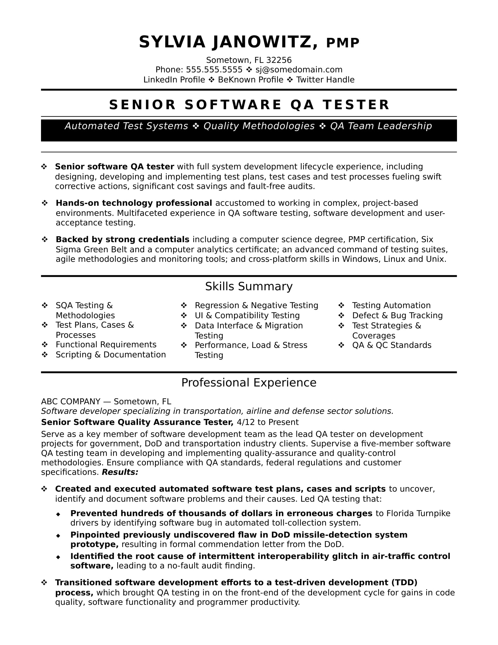 experienced qa software tester resume sample monster for test engineer career contessa Resume Sample Resume For Experienced Test Engineer