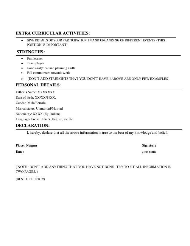 extracurricular activities in resume for freshers examples barista cv example senior Resume Resume Format For Placement