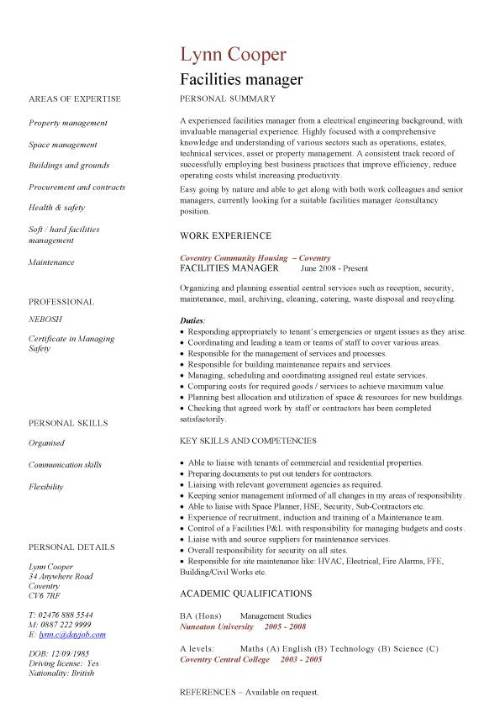facilities manager cv sample ultimately delivering reliable safe and clean premises in Resume Maintenance Manager Resume Objective