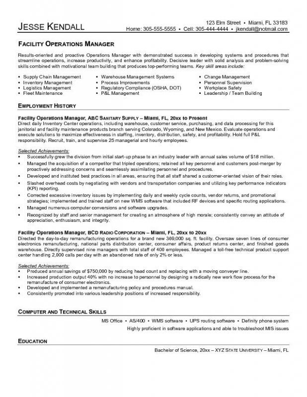 facilities manager resume sample template cover letter for operations management building Resume Building Maintenance Manager Resume