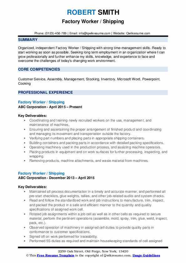 factory worker resume examples freight handler job description for format science Resume Assembly Line Worker Resume Sample
