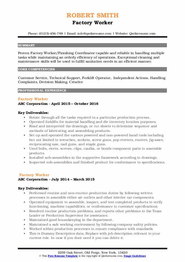 factory worker resume samples qwikresume summary examples for production pdf writing Resume Resume Summary Examples For Production Worker