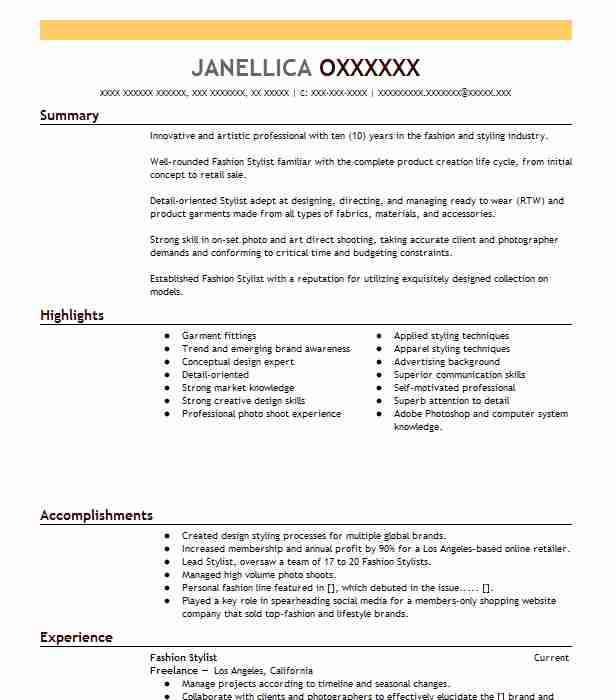fashion assistant stylist resume example condè nast publications brooklyn new summary Resume Fashion Stylist Resume Summary