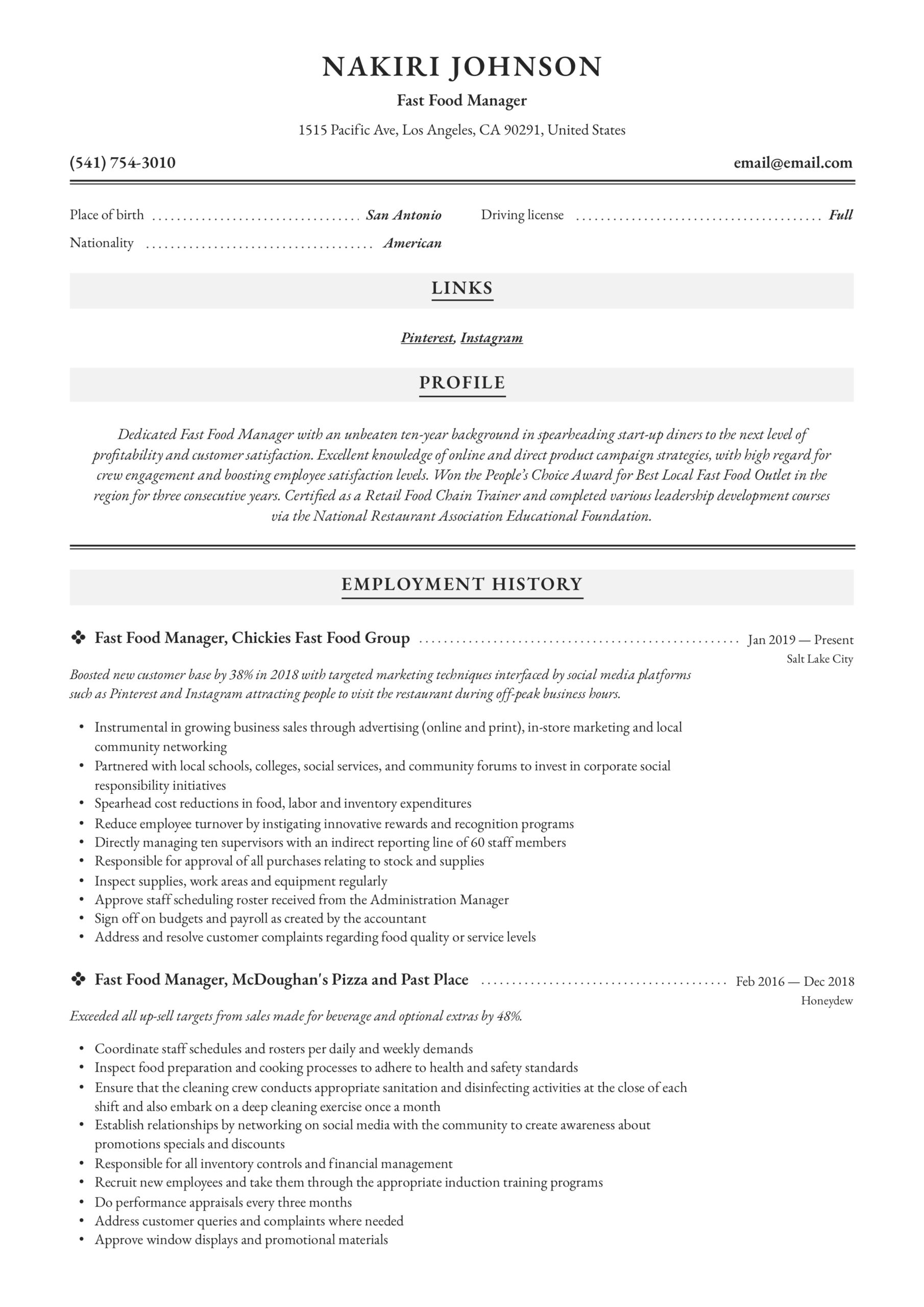 fast food manager resume writing guide examples restaurant general summary for medical Resume Fast Food Restaurant Resume