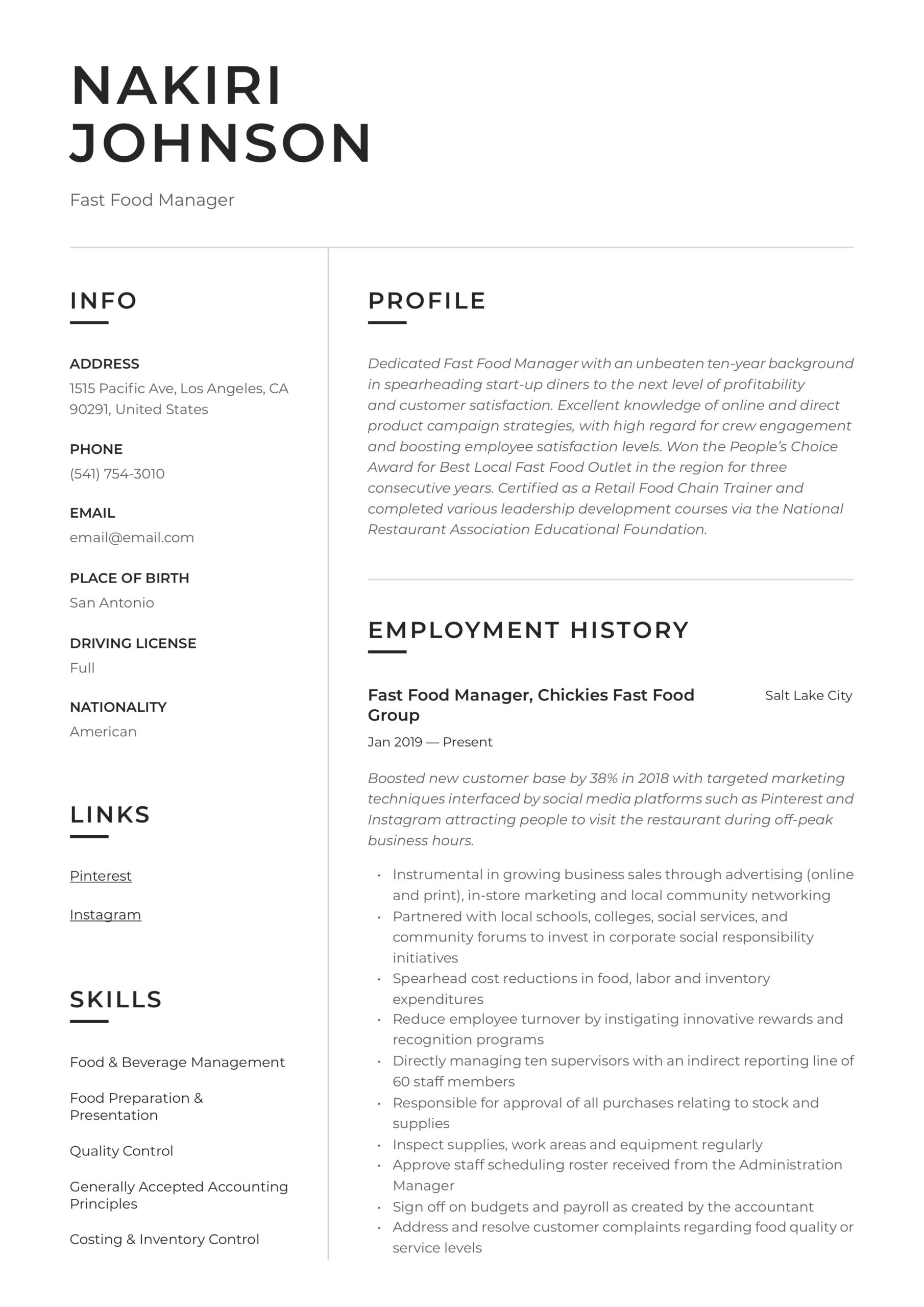 fast food manager resume writing guide examples restaurant medical assistant job Resume Fast Food Restaurant Resume