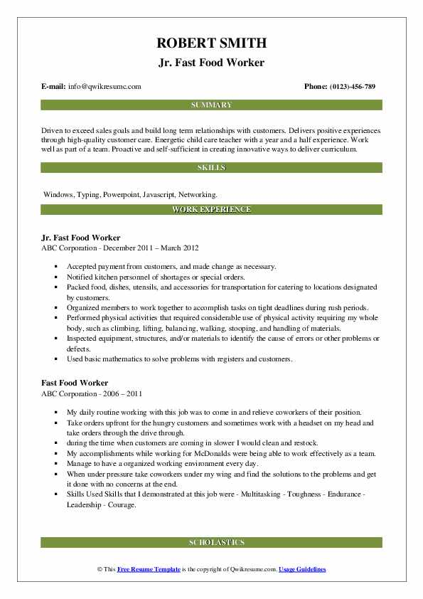 fast food worker resume samples qwikresume restaurant pdf retail floor manager the Resume Fast Food Restaurant Resume
