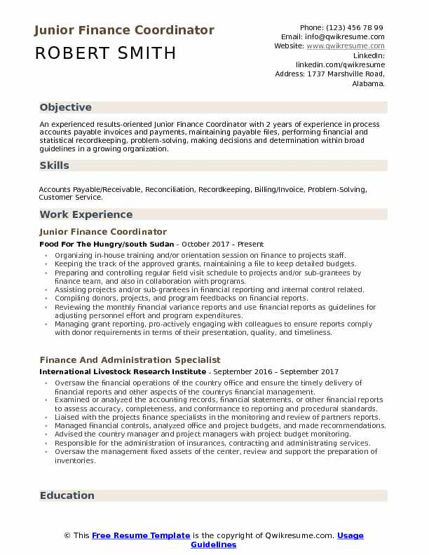 finance coordinator resume samples qwikresume objective for pdf professional engineer Resume Objective For Finance Resume