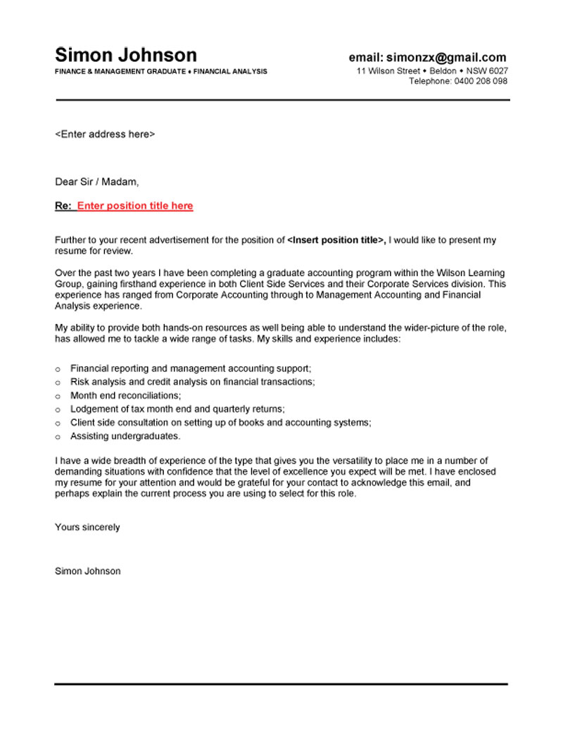 finance graduate cover letter for resume fresh solution architect ophthalmic technician Resume Cover Letter For Resume For Fresh Graduate