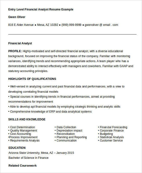 finance resume templates pdf free premium entry level samples financial analyst example Resume Sample Resume For Entry Level Finance Job