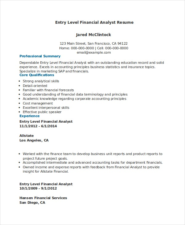 financial analyst resume pdf word documents free premium templates sample for entry level Resume Sample Resume For Entry Level Finance Job