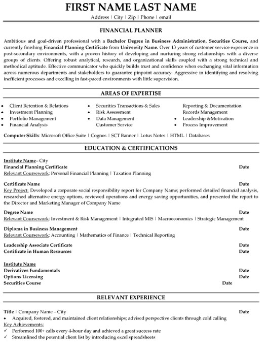 financial planner resume sample template finance skills on fi executive packages chief Resume Finance Skills On A Resume