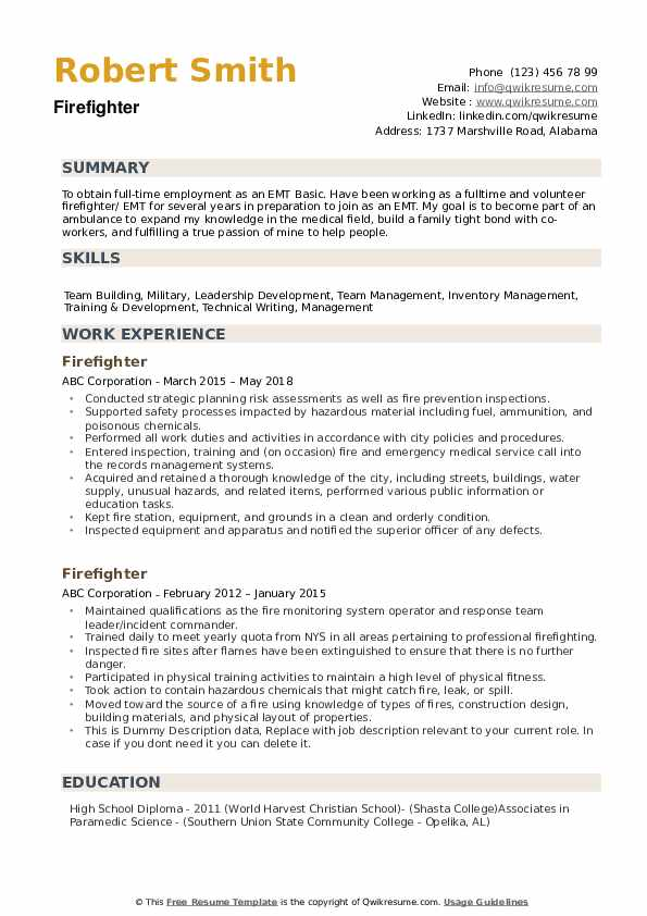 fire fighter resume samples qwikresume firefighter examples pdf local builders non Resume Firefighter Resume Examples