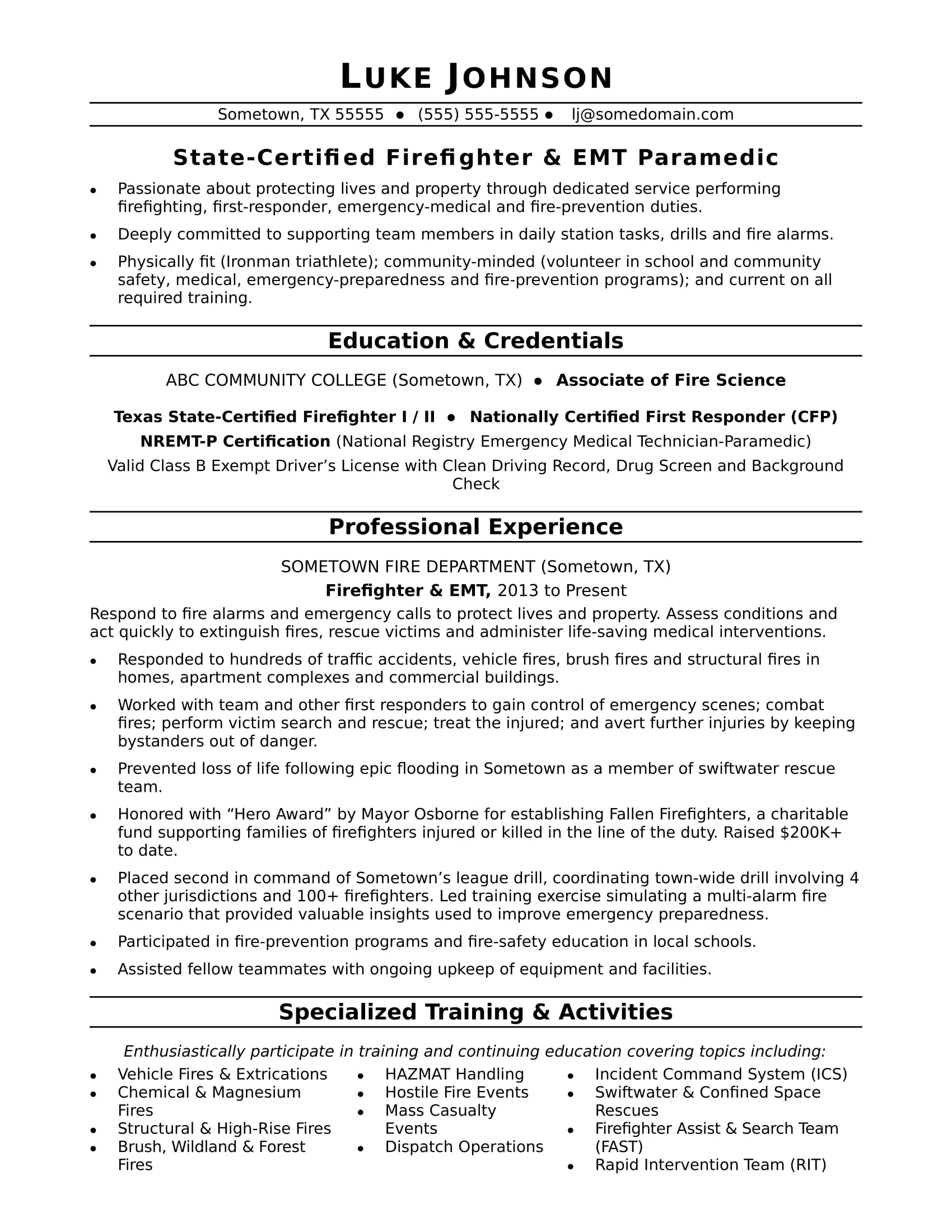 firefighter resume sample monster examples commercial pilot template administrative Resume Firefighter Resume Examples