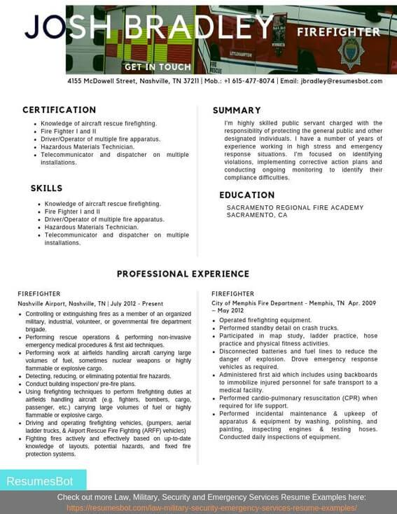 firefighter resume samples and tips pdf resumes bot examples example oracle hrms techno Resume Firefighter Resume Examples