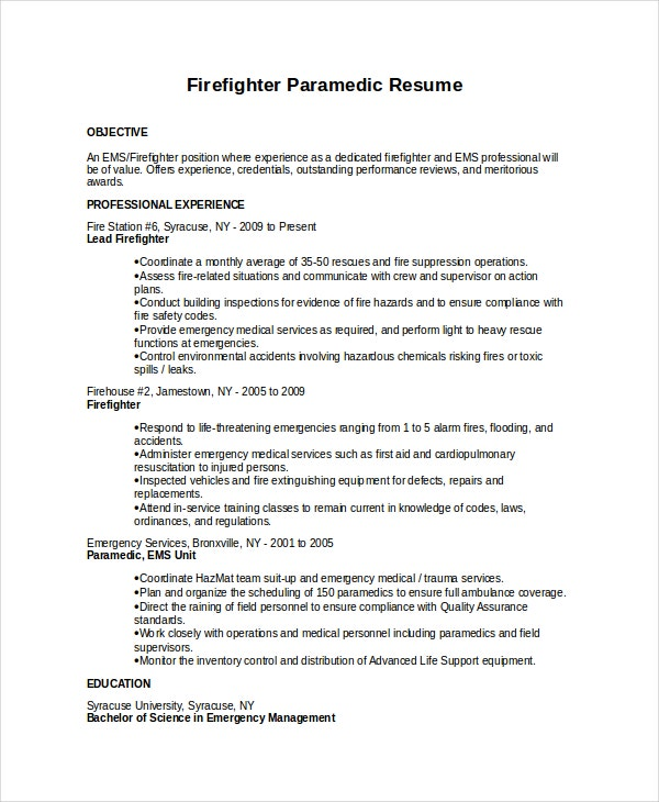 firefighter resume templates pdf free premium examples paramedic front desk receptionist Resume Firefighter Resume Examples
