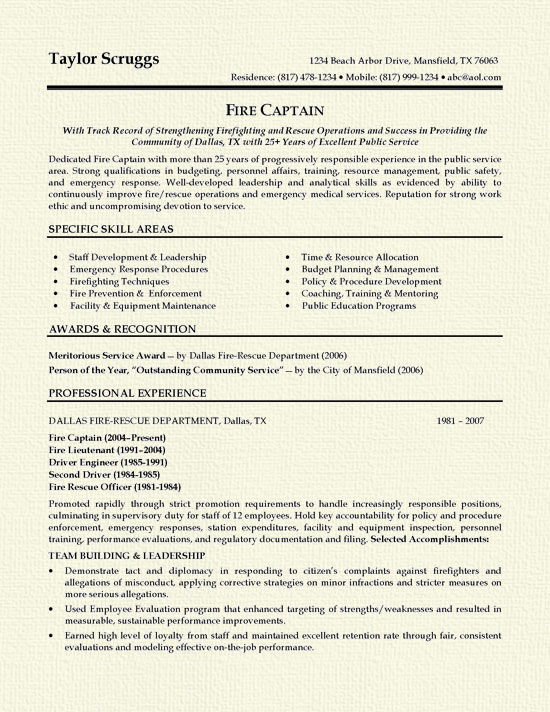 fireman resume example firefighter examples sample firecaptain for network engineer with Resume Firefighter Resume Examples