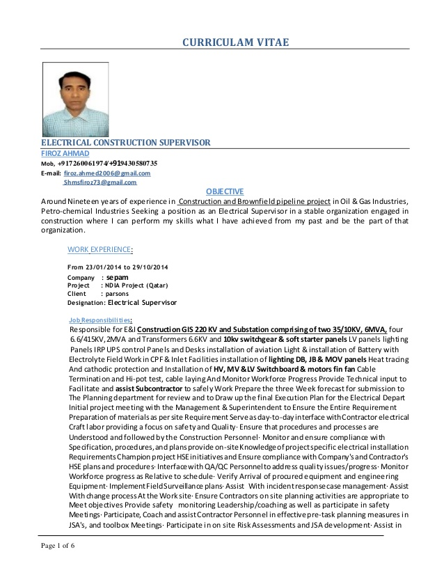 firoz electrical supervisor cv and instrumentation resume first time employee sample Resume Electrical And Instrumentation Supervisor Resume