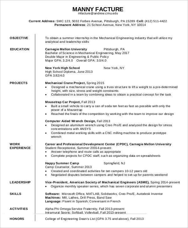 first job resume free word pdf documents premium templates format for mechanical engineer Resume Resume Format For First Job