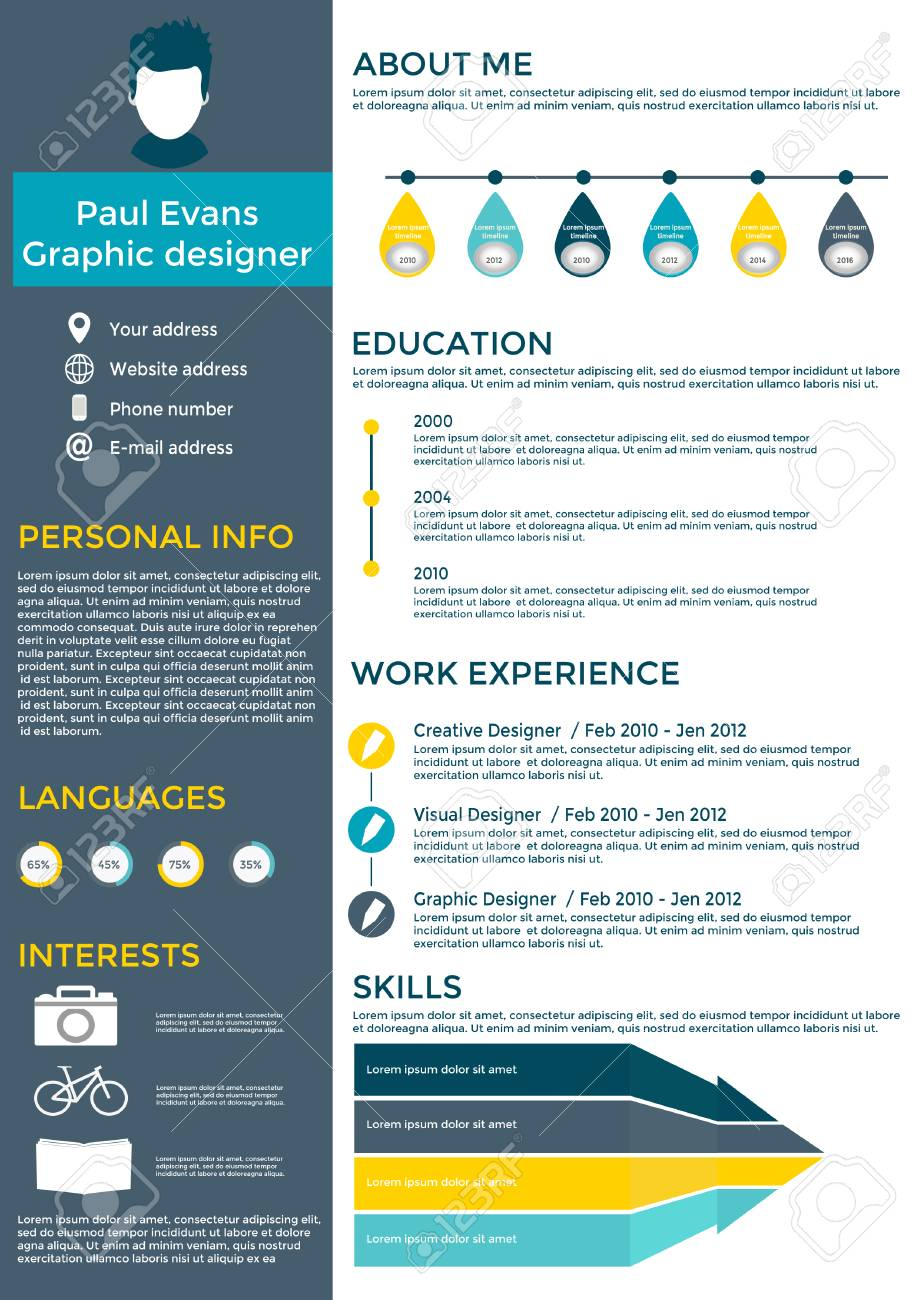 flat resume infographic design cv set with infographics royalty free vectors and stock Resume Infographic Resume Timeline
