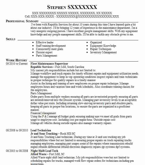 fleet maintenance supervisor resume example palm tran jupiter vehicle baseball coach Resume Vehicle Maintenance Supervisor Resume