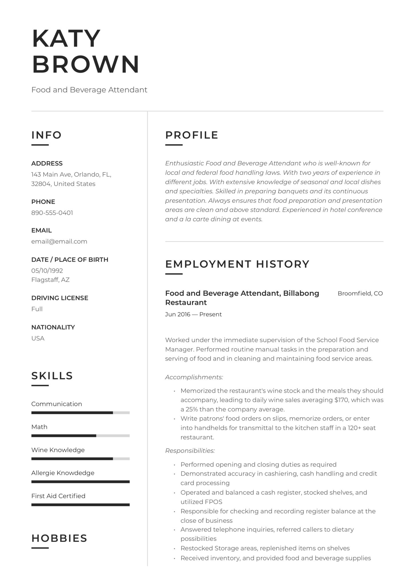 food and beverage attendant resume examples word pdf hospitality objective scaled sample Resume Hospitality Resume Objective