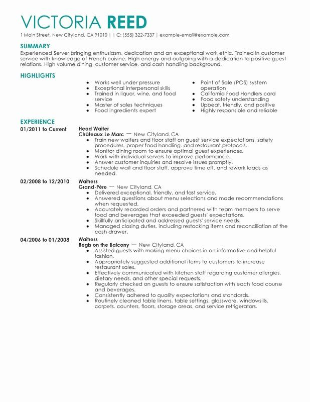 food service job description resume beautiful unfor table restaurant server examples to Resume Job Description For A Server On A Resume