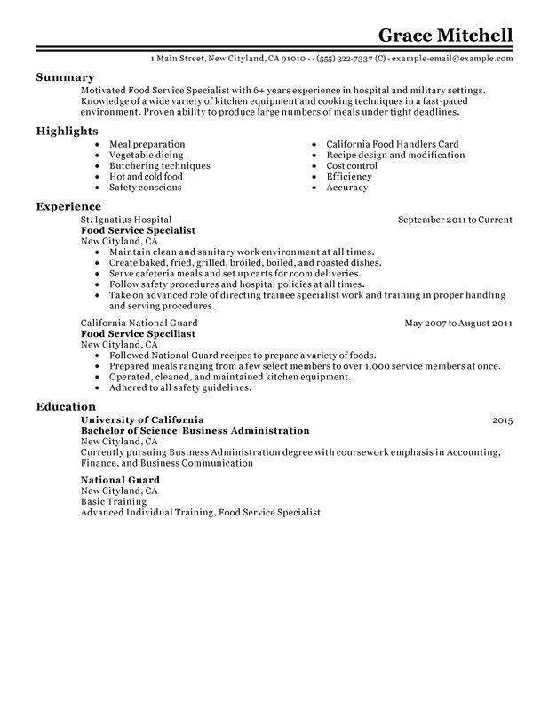 food service specialist resume examples created by pros myperfectresume sample customer Resume Sample Food Service Resume