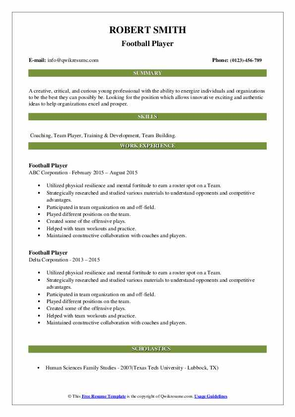 football player resume samples qwikresume sample pdf proven record togaf logo for fax Resume Football Player Resume Sample
