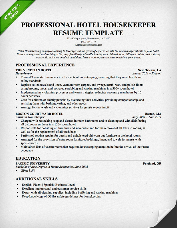 for housekeeping resume samples format example hotel free builder with job descriptions Resume Housekeeping Resume Example Hotel