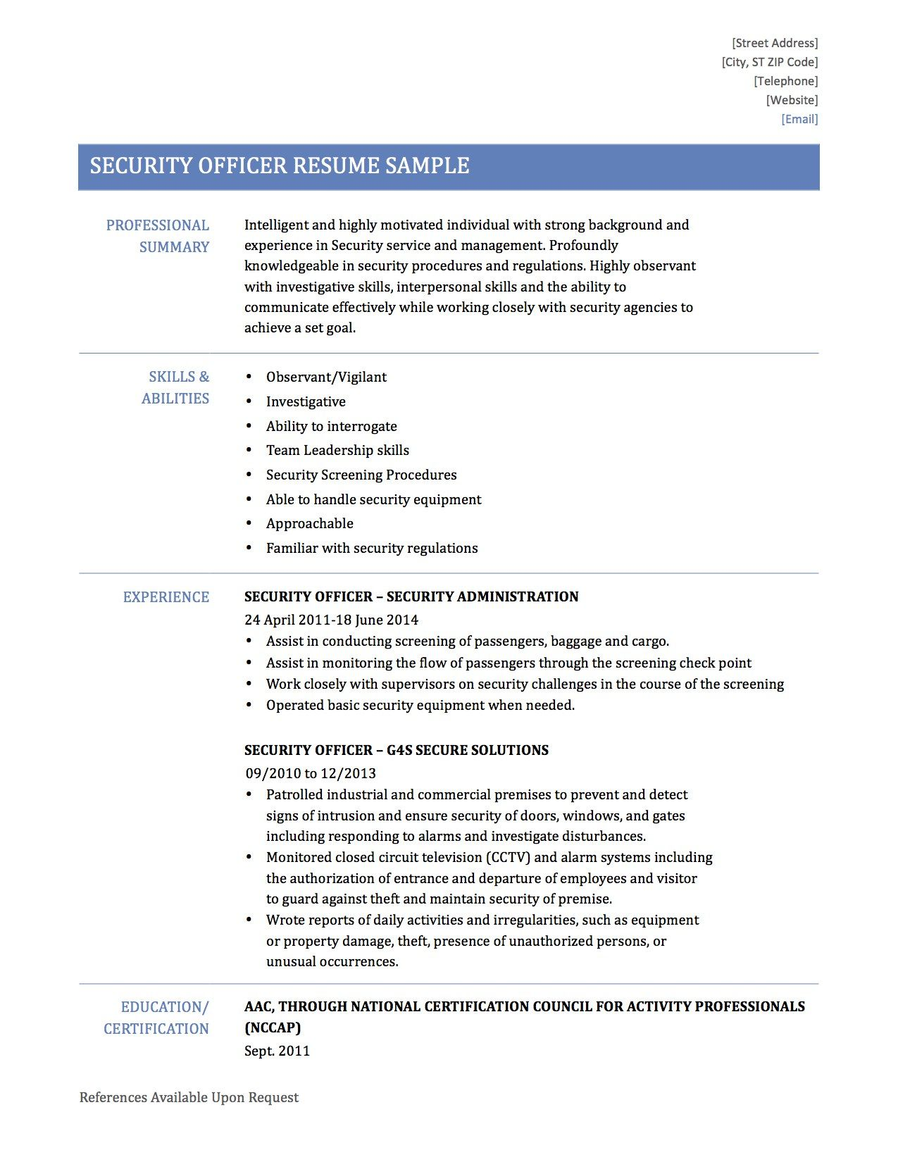 for resume personal qualities examples example attributes template manager security Resume Personal Characteristics Examples For Resume