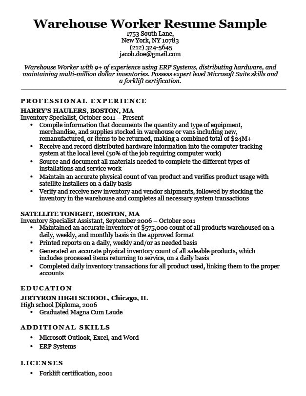 for warehouse resume format examples associate projects samples computer science Resume Resume Examples For Warehouse Associate