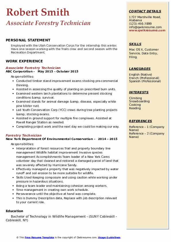 forestry technician resume samples qwikresume example pdf some good headlines build phone Resume Forestry Resume Example
