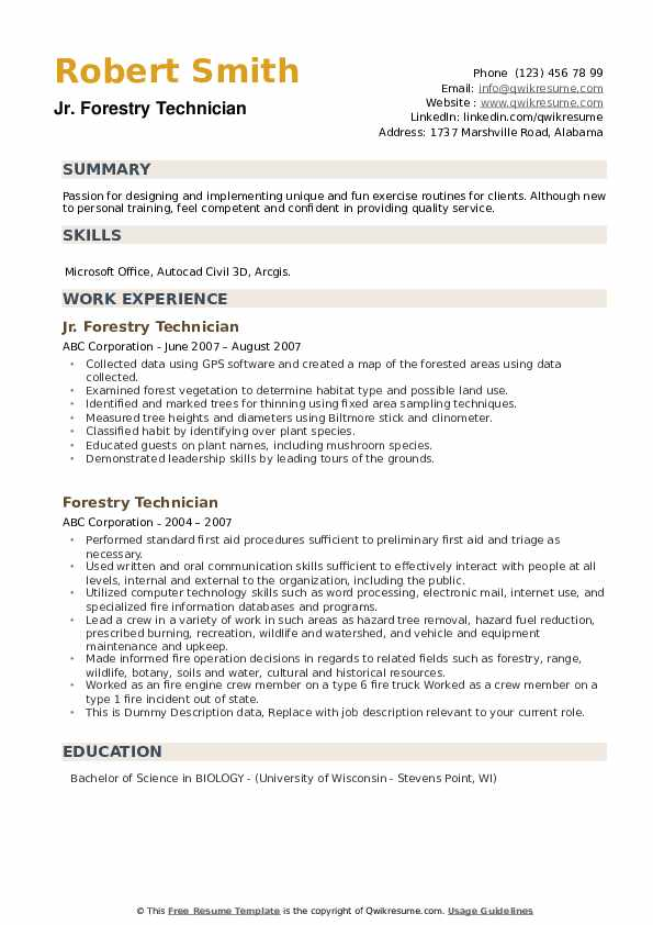 forestry technician resume samples qwikresume example pdf student teaching on hire heroes Resume Forestry Resume Example